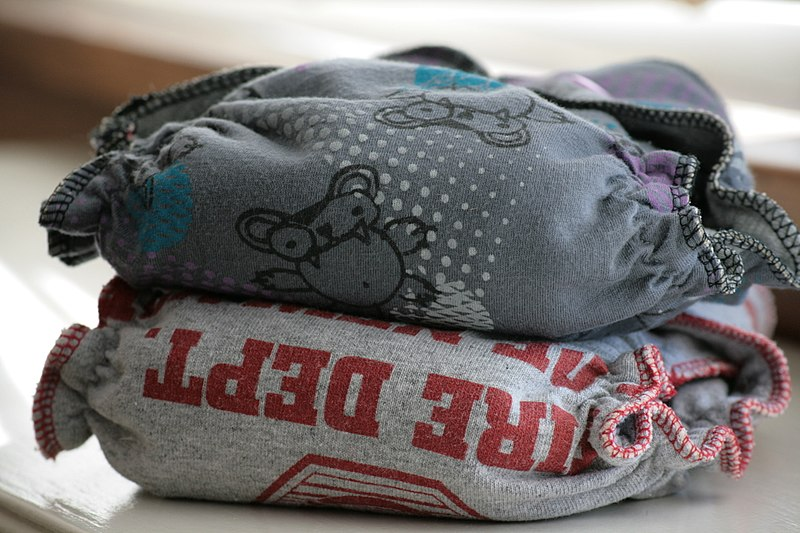 Cloth diapers are easy to store too. [Image Credit: Wikimedia Commons]